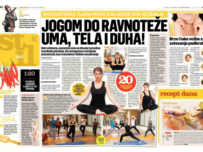 Naša instuktorka Tijana Marić o blagodetima vežbanja
